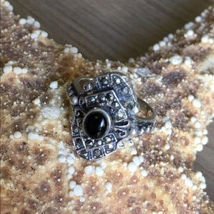 .925 Sterling Silver Onyx Marcasite Ring